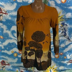 Aziza brown dress with trees and flowers XL